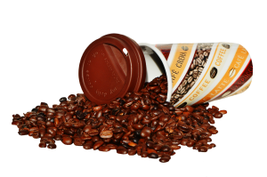 photo of coffee cup and coffee beans