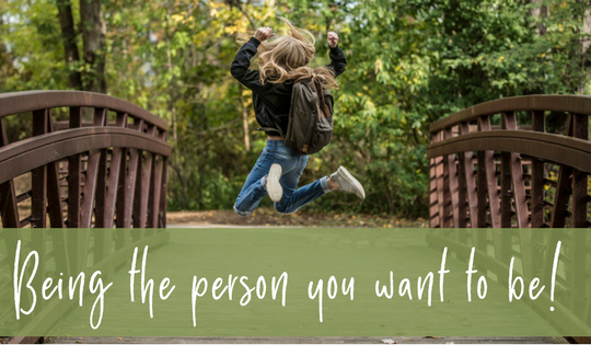 photo shows child jumping and says being the person that you want to be
