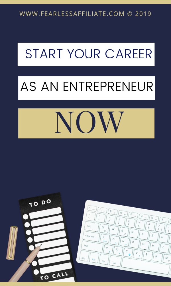 Thinking of starting a career as an entrepreneur? Want to dip your toe into online marketing? The best time to start is right now. Keep your day job and set up your blog or website now, so that when you start making money you can slowly kiss that 9-to-5 goodbye as you create the life you really want! #startyourcareer #entrepreneur #onlinemarketing #affiliatemarketing #amazon #youtube #dropshipping #shopify #freelance