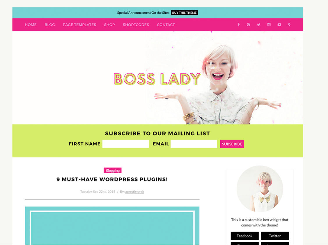 Boss Lady Theme by A Prettier Web