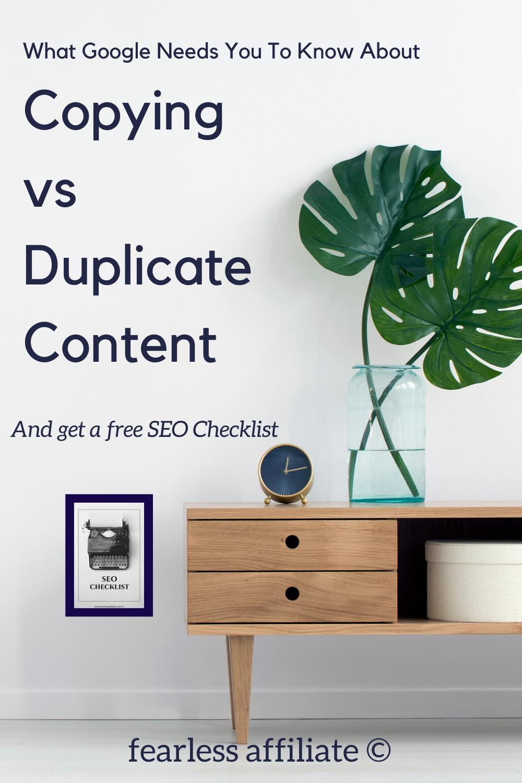 Copying Vs. Duplicate Content