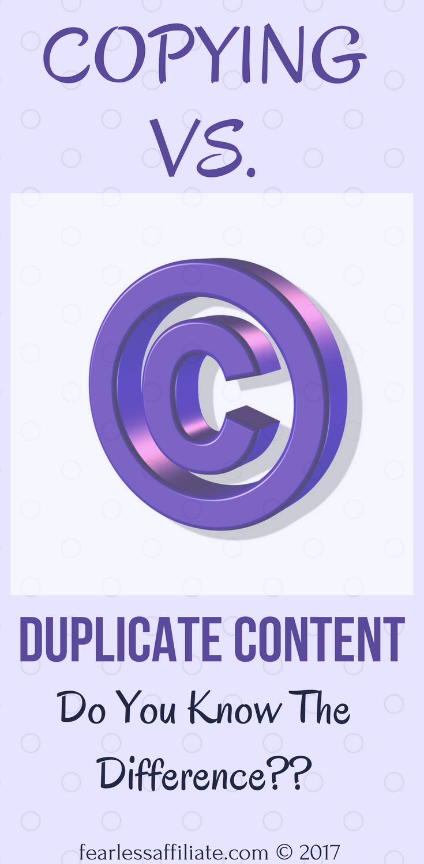copying versus duplicate content