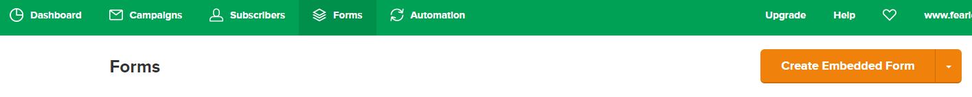 MailerLite forms menu