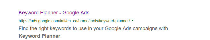 search result for Keyword Planner
