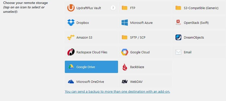 UpdraftPlus Remote Storage Options